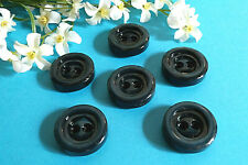 """106C / Chequerboard Big Buttons """" Riva """" Blue Duck Set Of 6 Buttons ÉP.1970"""