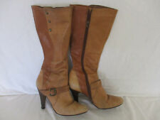 "Ladies Boots Size 5 - Soft Tan Patchwork Leather - 4"" Kitten Heel - Mid Calf"