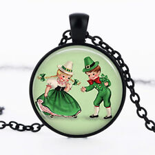 St Patrick's Day photo Black Dome Glass Cabochon Necklace chain Pendant #475