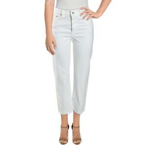 Levi's Womens White High Waist Frayed Crop Straight Leg Jeans 27/26 BHFO 4332