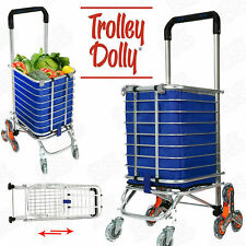Folding Shopping Cart Jumbo Basket Grocery Laundry Travel with 6/8 Stair Wheels