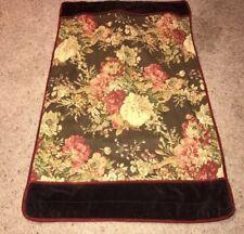 2 Pair Waverly King Pillow Shams Case Floral Brown Burgundy Multi Velvet 105021