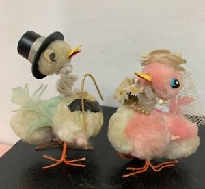7 Vtg Chenille Pom Pom Pipe Cleaner Easter Thanksgiving Chicks Turkey Duck Decor