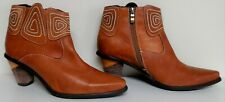 NEW Women's Spring Step Gamer Brown (Camel) Leather Ankle Boots - Size 8.5