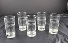 Vintage Lot Of 5 Glass Clear Drink Water Etched Leaf Design