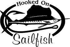 HOOKED ON SAILFISH Salt water fishing trip lure Car or Wall Decal /Sticker LRG