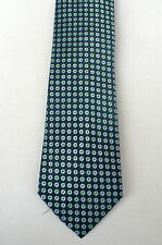 Lord and Taylor Silk Tie NAVY With LIGHT BLUE GREEN Circles Classic Width New