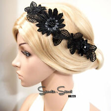 Vintage Gatsby Flapper Black Lace Flower Fascinator Wedding Headpiece Hair Clip
