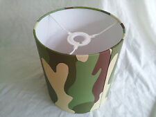 "8""/20cm Camouflage army wallpaper LAMPSHADE HANDMADE IN UK .Rasch,greeen brown."