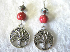 """Tree of Life"" earrings, crystal,howlite/sterling silver earring hook"