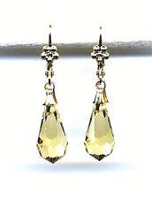 LEMON YELLOW CITRINE cut-crystal BRIOLETTE TEARDROP EARRINGS 14K Gold gp *Czech