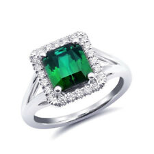 Natural Green Tourmaline 2.85 carats set in 18K White Gold Ring with Diamonds