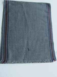 Polo Ralph Lauren 100% Virgin Wool Gray Herringbone Striped Scarf Muffler 76""
