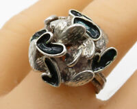 925 Sterling Silver - Vintage Enamel Love Hearts Cocktail Ring Sz 8 - R1841