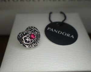 Pandora  SIGNATURE BIRTHSTONE HEART JULY  791784MSG  Red Ruby, Hinged Box