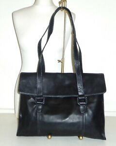 TIGNANELLO - Black Buttersoft Leather Briefcase LAPTOP Shoulder Bag - LARGE