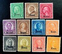 1929 US Stamps SC #658-668  Kansas Overprint Complete MLH CV:$229