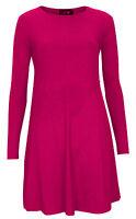 Ladies Womens Long Sleeve Plain A Line Swing Skater Dress Sizes 8-24