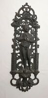 antique ornate figural heavy cast iron relief man smoking pipe wall plaque art .