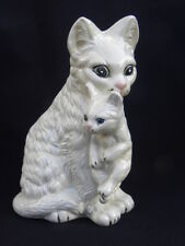 Vintage White Ceramic Pottery Persian Cat and Kitten Planter
