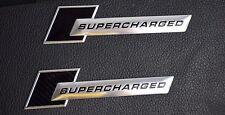 2x SUPERCHARGED Aluminum Sticker Emblem Car Rear Wind Side Decal Badge Black