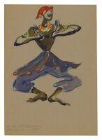 HILDA FIELD CASTELLON, 'EXOTIC DANCER, CELYON', signed watercolor, 1945.