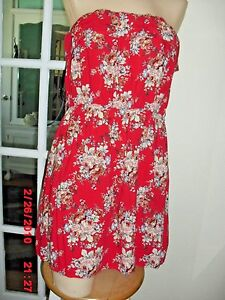 SEDUCTIONS RED, FLORAL MIMI DRESS STRAPLESS 100% RAYON SO CUTE SIZE L