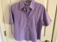Woman's Talbots size 12 petite purple wrinkle resistant short sleeve cotton top