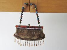 Snakeskin Look Print  Bag With  Beads and Beaded Handle