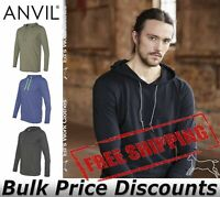 Anvil Mens Blank Lightweight Long Sleeve Hooded Tee T Shirt  987 up to 3XL