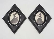 Vintage Silhouette Reverse Painted Wall Hanging Pair Victorian Women