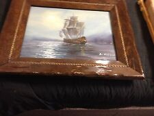 Ben Richmond Oil Painting On Canvas Signed And Framed Ship On Calm Seas
