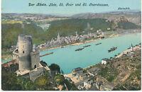 """D ST. GOARSHAUSEN u. ST. GOAR 1910, farb. gebr. AK """"Der Rhein. Katz, St. Goar"""""""