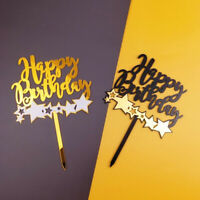 Acrylic Cupcake Topper Star Happy Birthday Cake Topper Card Party Decor Suppl Fb