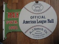 2 Sided Porcelain Man Cave Advertising Sign A J Reach American League Baseball