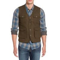 Jeremiah Mens Brown Pockets Porter Herringbone Tweed Wool Vest Size XL