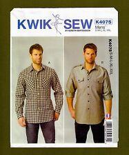 Kwik Sew Pattern 4075~Mens Long Sleeve Shirts with Pockets (Sizes S-XXL)