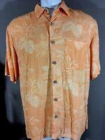 Caribbean Joe Mens 100% Silk Island Hawaiian Button Up Shirt Floral Tropical L