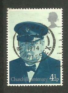 GREAT BRITAIN - Churchill Centenary 4 1/2 p - CDS Edgware Middlesex Used