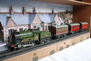 Hand built Diorama of a country Station and a Hornby O Gauge Train and coaches