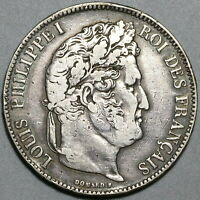 1835-K France 5 Francs VF Louis Philippe I Silver Bordeaux Crown Coin (19111403R