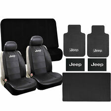11 pc Jeep Elite Seat Covers Black Classic Rubber Mats S-Cargo Set New Universal