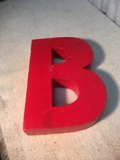 Letter B Big Vtg Wood Block Type Italic Font 8in X 5in X 15in Red