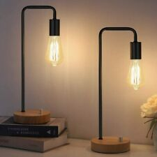 Set of 2 Industrial Desk Lamp with Wooden Base, Retro...