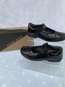 Startrite Hopscotch Black Patent Girls School Shoes Size 1F