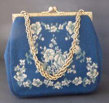 Vintage Needle Point HandBag Floral Blue