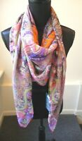 Etro NWT Colorful Silk Chiffon Large Square Shawl Wrap Scarf Etro  Retail $525