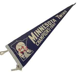 Vintage 1965 MINNESOTA TWINS Champions Original Blue Felt Pennant