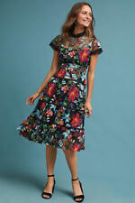 BNWT Black Mesh Bodice Colourful Floral Flower Embroidered Tier Midi Dress