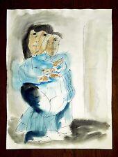 "JOSE LUIS CUEVAS 23"" x 17.5"" INK WATERCOLOR PAINTING ON PAPER SIGNED"